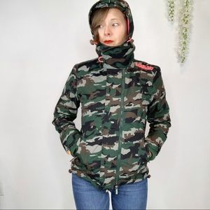 SUPERDRY camo puffy jacket 3 zippers hooded